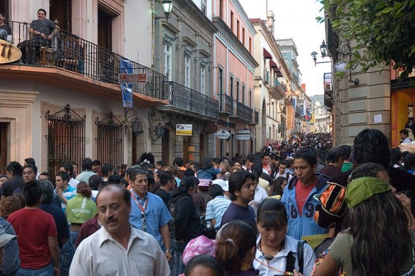 Crowd at the Cervantino Festival