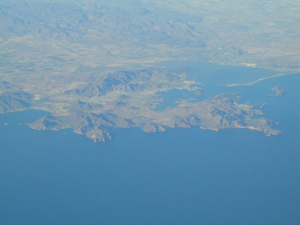 The city of Guaymas from air