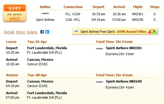 Spirit Airline flight from Fort Lauderdale to Cancun detail