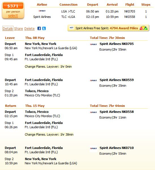 Spirit Airlines flight from New York to Mexico City details